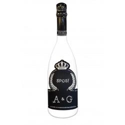 Bottiglia con personalizzazione in Swarovski per matrimonio