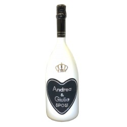 Love White Outline Magnum 1,5L per Sposi - Bottiglia con Swarovski