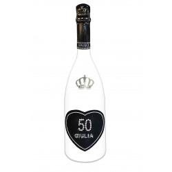 Spumante  - Cuore - Età e nome - bottiglia bianca